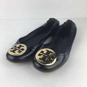 Tory Burch Navy Blue Ballet Leather Flats